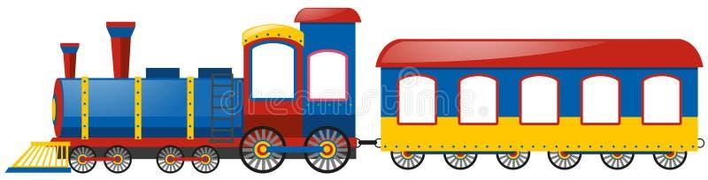 Treno e singolo carrello ferroviario su fondo bianco illustrazione di stock