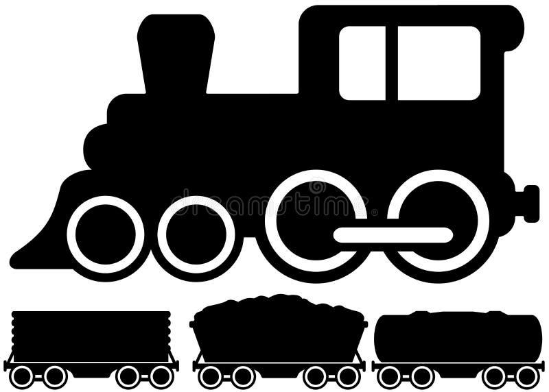 Treno ed automobile locomotivi isolati illustrazione vettoriale