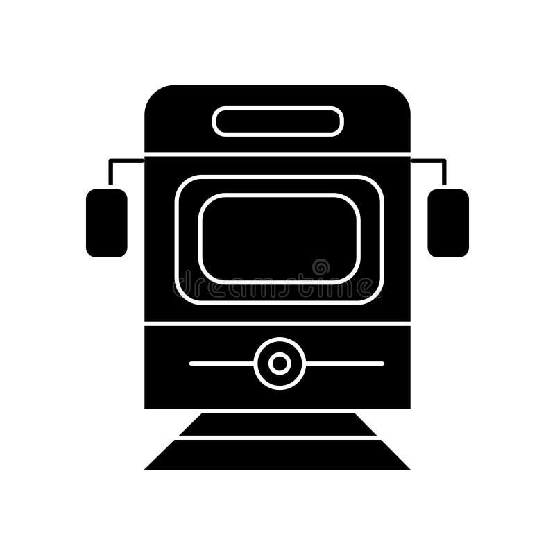 Treno - icona di vista frontale del tram, illustrazione di vettore, segno nero su fondo isolato royalty illustrazione gratis
