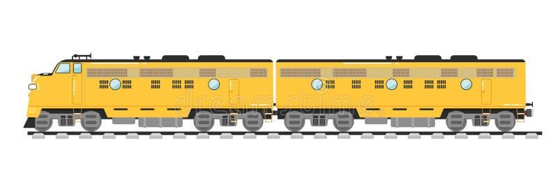 Treno merci giallo isolato su fondo bianco royalty illustrazione gratis