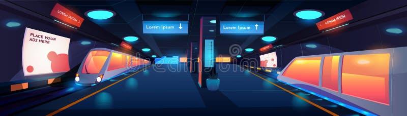Treno nell'interno della stazione della metropolitana alla notte royalty illustrazione gratis