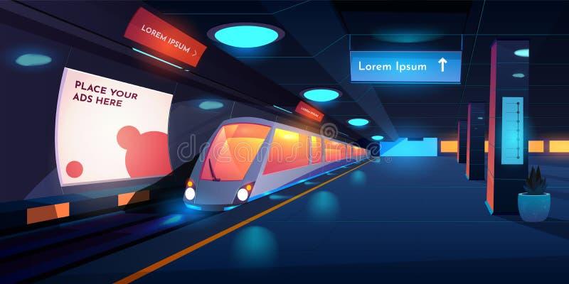Treno nella stazione della metropolitana alla notte, binario illustrazione vettoriale