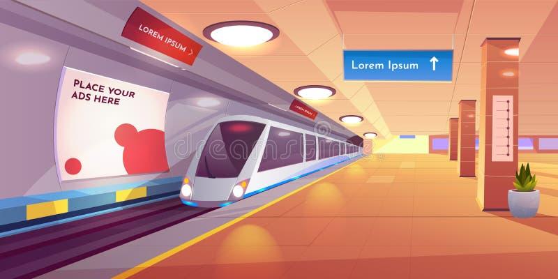 Treno nella stazione della metropolitana, binario vuoto del sottopassaggio illustrazione di stock