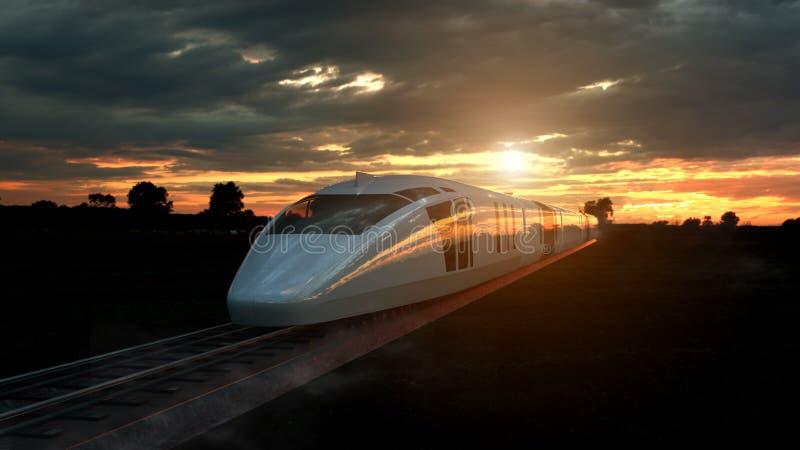 Treno passeggeri elettrico al tramonto retroilluminato da uno sprazzo di sole arancio luminoso sotto un cielo nuvoloso minaccioso illustrazione vettoriale