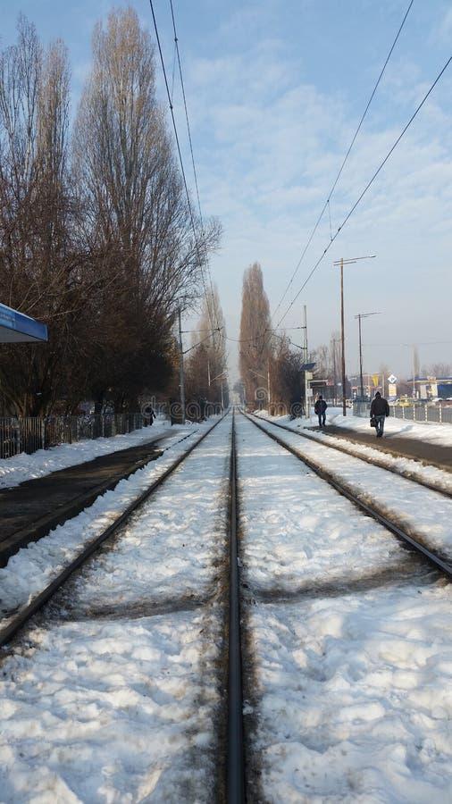 Treno Sofia, Bulgaria della neve fotografie stock libere da diritti