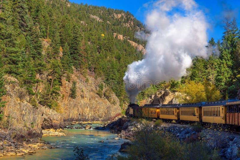 Treno storico del motore a vapore in Colorado, U.S.A. fotografia stock libera da diritti