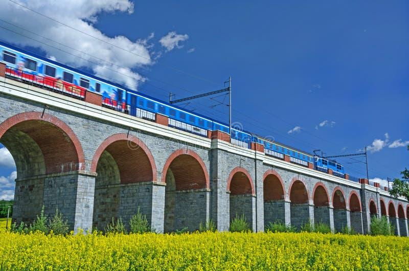 Treno sul ponte fotografia stock