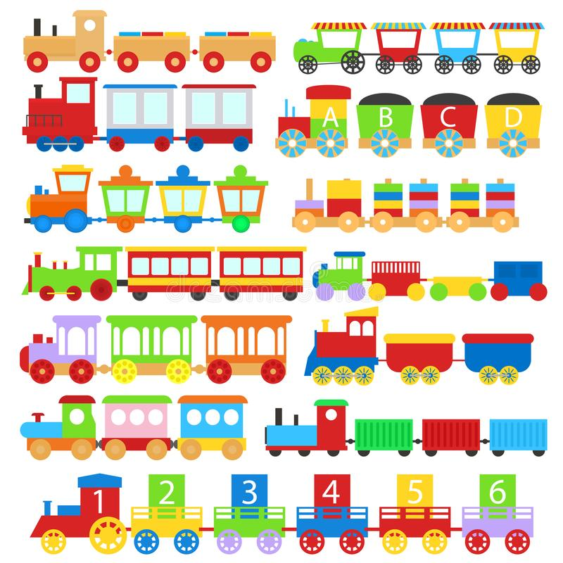 Treno Toy Children Signs Icon Set del fumetto Vettore illustrazione vettoriale