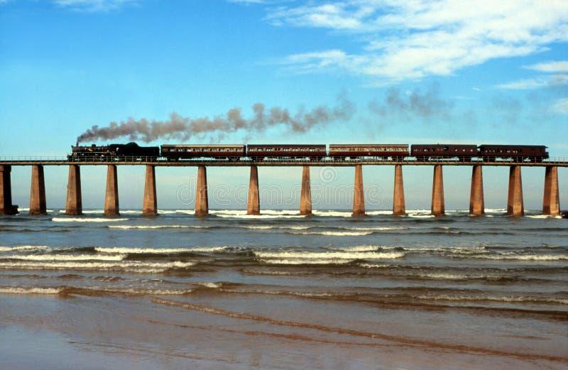 Treno a vapore che attraversa il ponte Sudafrica del fiume di Kaaimans immagini stock libere da diritti