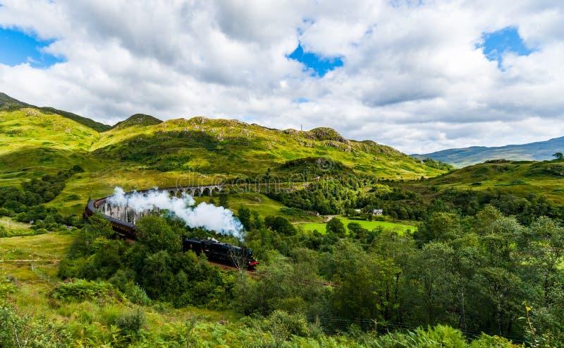 Treno a vapore sul viadotto fotografie stock