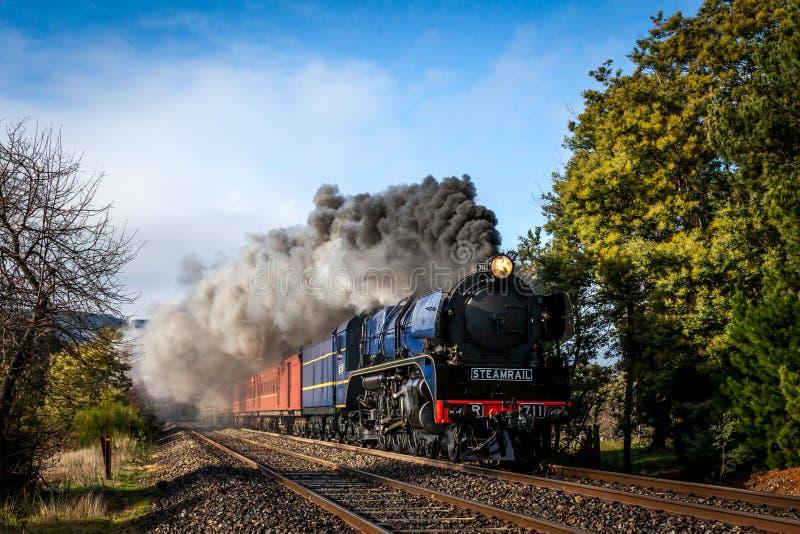Treno a vapore, Woodednd, Victoria, Australia, agosto 2016 fotografia stock