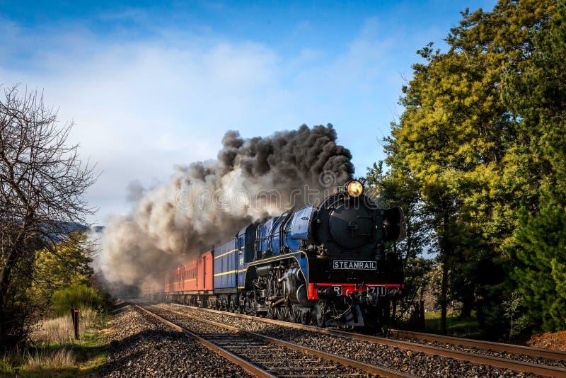 Treno a vapore, Woodend, Victoria, Australia, agosto 2017 fotografie stock
