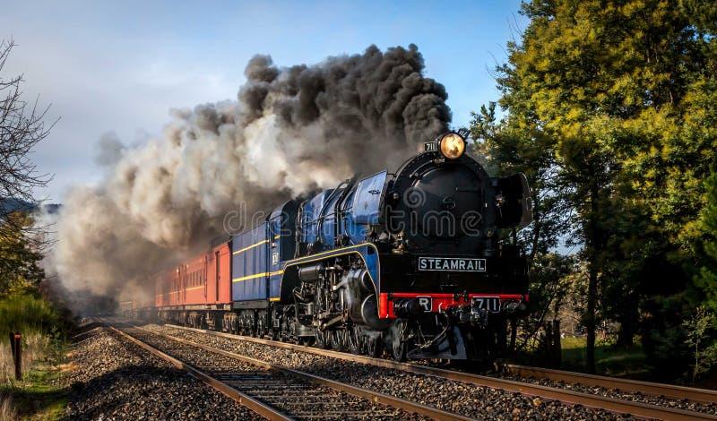 Treno a vapore, Woodend, Victoria, Australia, agosto 2017 immagini stock libere da diritti