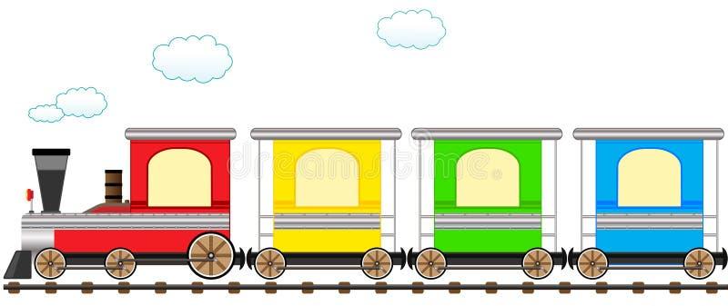 Treno variopinto sveglio del fumetto in ferrovia royalty illustrazione gratis