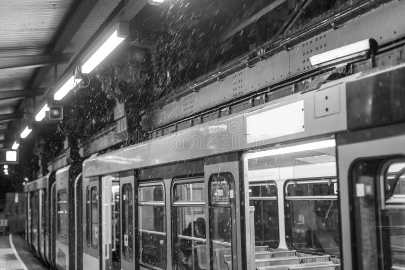 Treno Wuppertal Germania di Schwebebahn su un uguagliare di inverno in bianco e nero fotografia stock libera da diritti