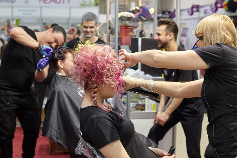 Trenować fryzjery dla tworzyć kolorowego kreatywnie hairstyl obrazy royalty free