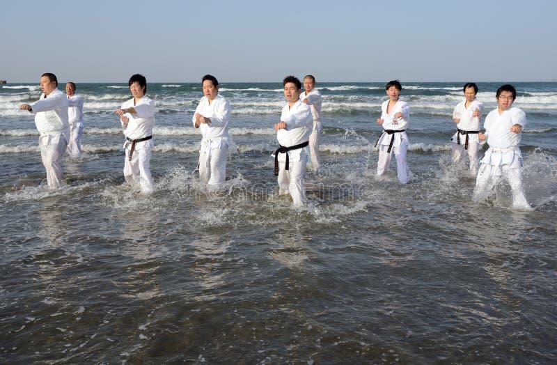 Trenować karate przy plażą midwinter, Japonia zdjęcie stock