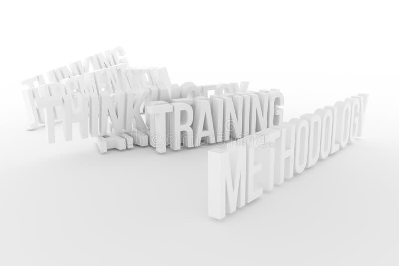 Trenować, metodologia, biznesowe konceptualne szarość 3D lub czarny i biały B&W odpłacający się słowa, Abecadło, rendering, styl  ilustracja wektor