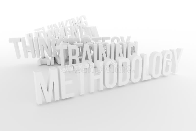Trenować, metodologia, biznesowe konceptualne szarość 3D lub czarny i biały B&W odpłacający się słowa, Grafika, wiadomość, tytuł  royalty ilustracja