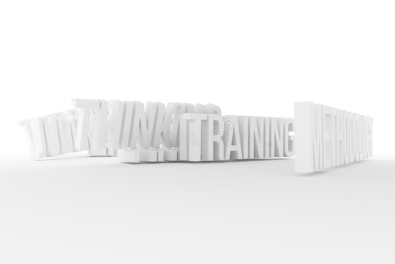 Trenować, metodologia, biznesowe konceptualne szarość 3D lub czarny i biały B&W odpłacający się słowa, Typografia, tło, cgi & pod royalty ilustracja