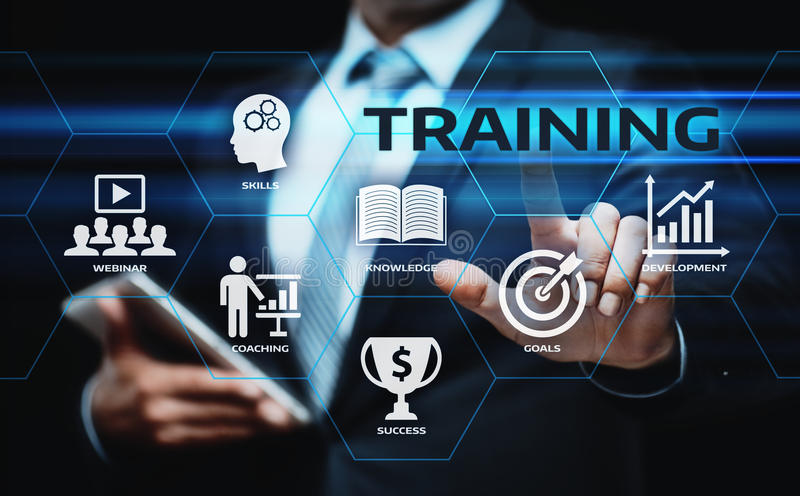 Trenować Webinar nauczania online umiejętności technologii Biznesowego Internetowego pojęcie obraz stock