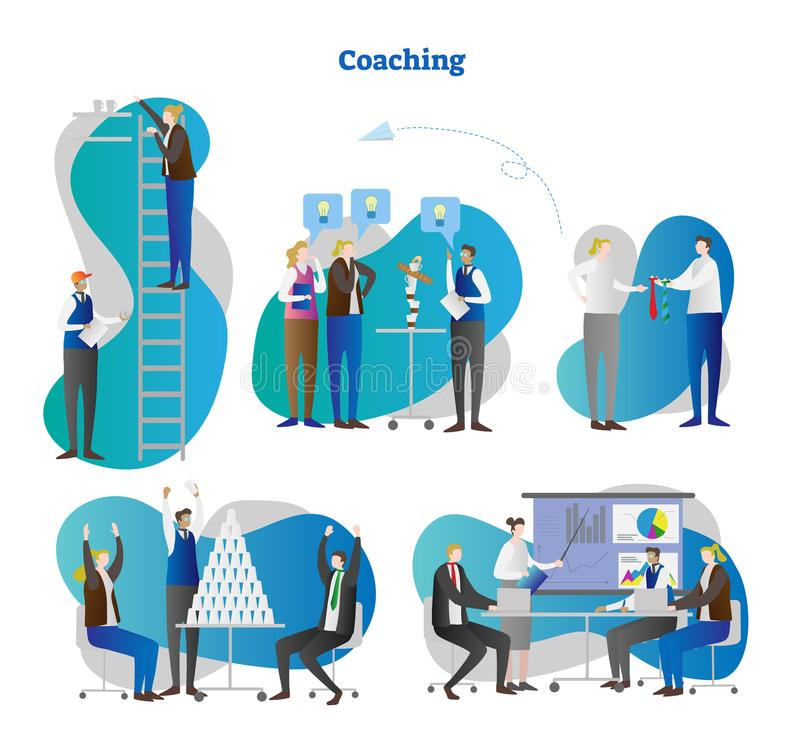 Trenowanie wektoru ilustracja Inkasowy ustawiający biznesu i osobowości pracy zespołowej wzrostowi warsztaty Trenera i mentora pr ilustracja wektor