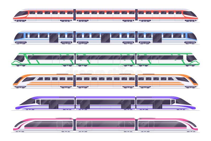 Trens de passageiros Metro moderno e trem railway Grupo do vetor do transporte da cidade ilustração royalty free