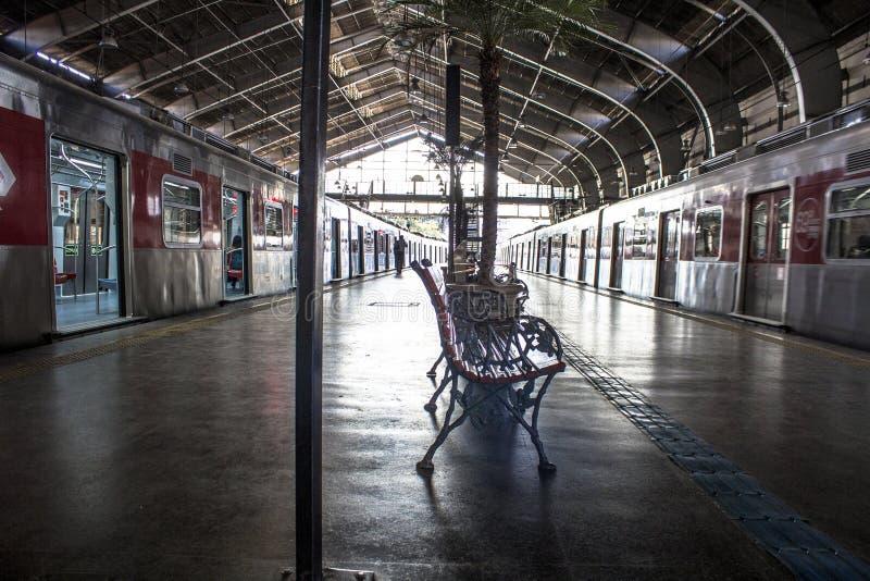 Trens e passageiros na plataforma do embarque e do desembarque da estação de Julio Prestes fotografia de stock