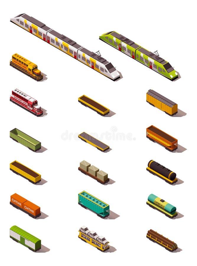 Trens isométricos do vetor ilustração stock
