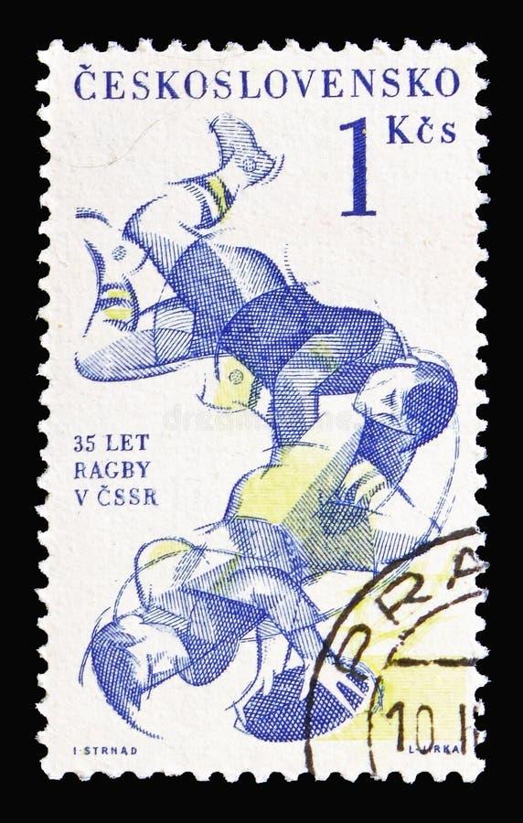 Trentacinquesimo anniversario di promozione del fondare del rugby in Czechoslo immagine stock