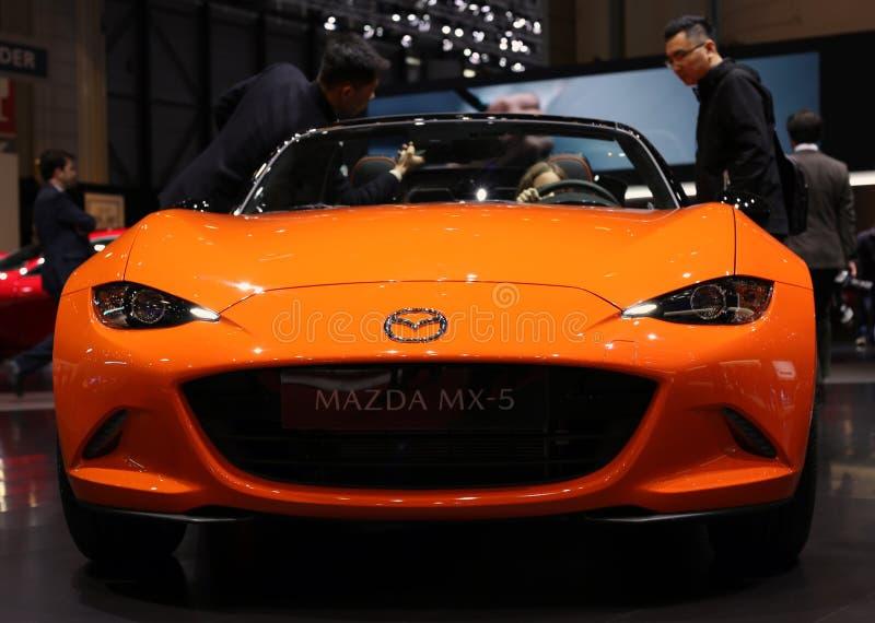 Trentesimo anniversario MX5/Miata arancio di Mazda Ginevra salone dell'automobile GIMS marzo 2019 internazionale fotografie stock