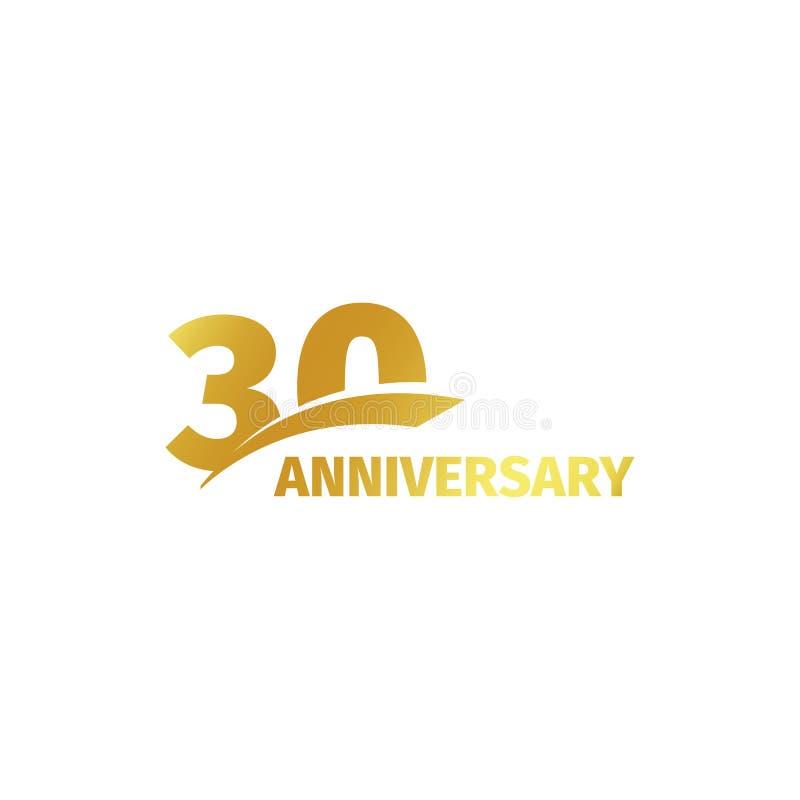 Trentesimo logo dorato astratto isolato di anniversario su fondo bianco un logotype di 30 numeri Trenta anni di celebrazione di g illustrazione di stock