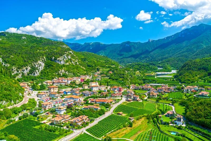 Trentino rural landscape, Drena village stock photos
