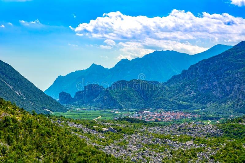 Trentino rural landscape, Sarca Valley above Garda Lake royalty free stock photography