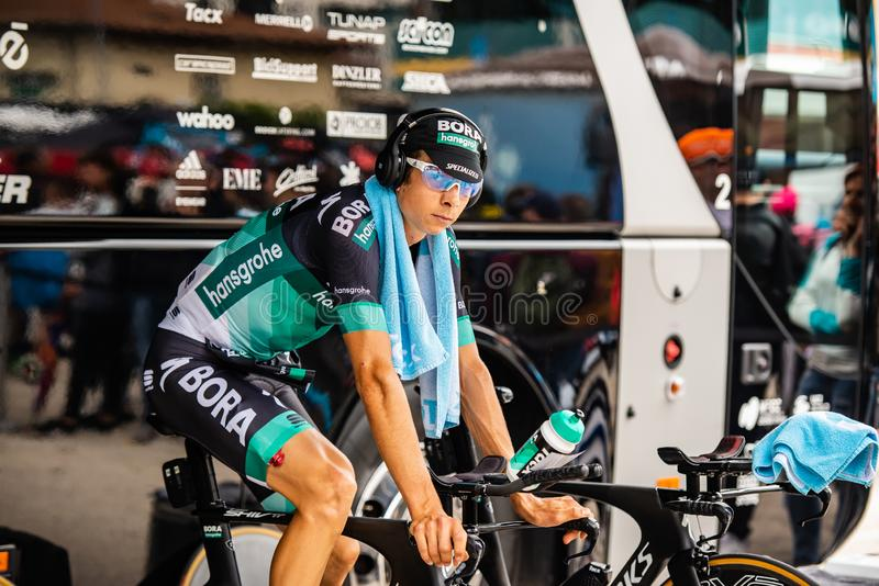 Trento, Italy May 22, 2018: Davide Formolo, Bora Hansgrohe Team, on the rolles before the time trial stage from Trento to Rovereto. At the Giro D`Italia 2018 stock image