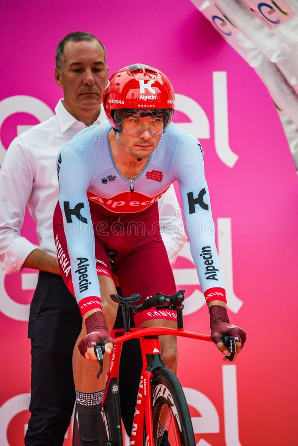 Trento, Italy May 22, 2018: Professional cyclist, Katusha Team, ready to departure for the time trial stage. From Trento to Rovereto at the Giro D`Italia 2018 royalty free stock photo