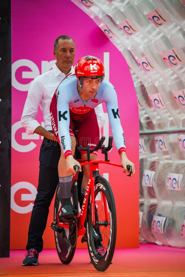 Trento, Italy May 22, 2018: Professional cyclist, Katusha Team, ready to departure for the time trial stage. From Trento to Rovereto at the Giro D`Italia 2018 stock photo