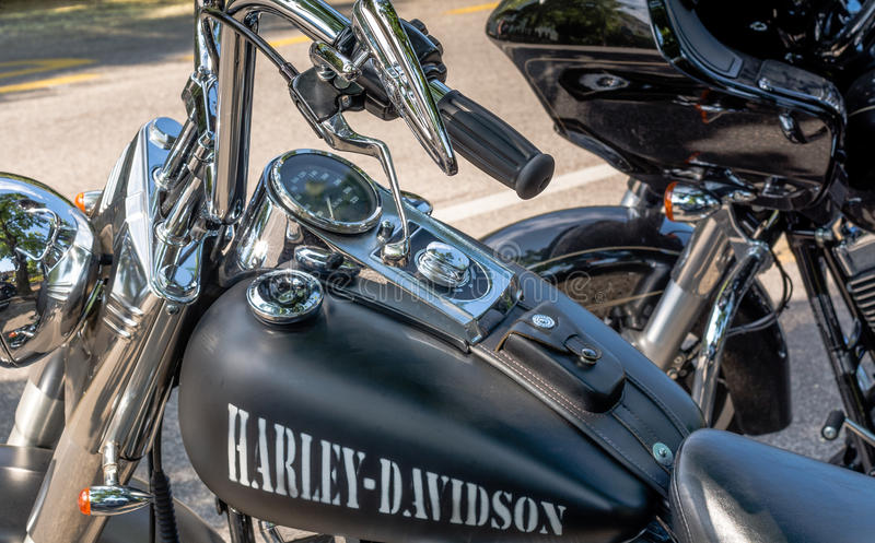 Trento, July 22, 2017: emblem and details of the famous Harley Davidson motorcycle. Vintage and retro filter effect royalty free stock image
