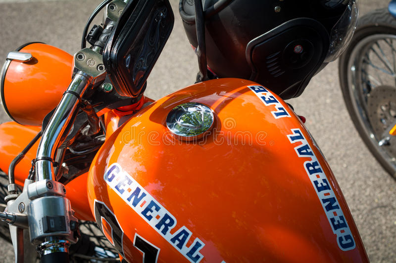 Trento, July 22, 2017: Show classic motorcycles. Motorcycle parts details. Vintage filter effect royalty free stock photos
