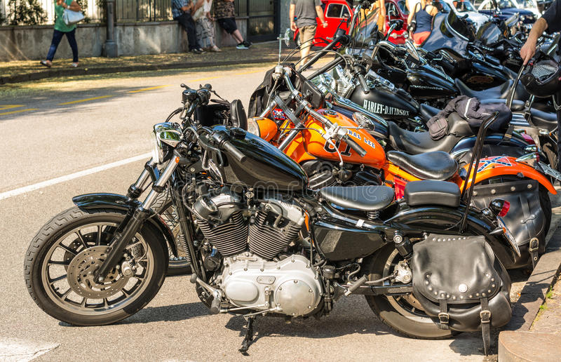 Trento, July 22, 2017: Show classic motorcycles. Motorcycle parts details. Vintage filter effect stock image