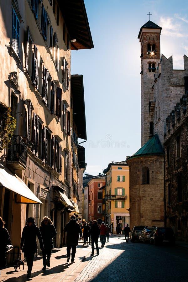 Trento miasta stary kwadrat obraz royalty free