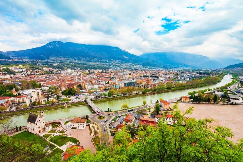 Trento powietrzny panoramiczny widok zdjęcia stock