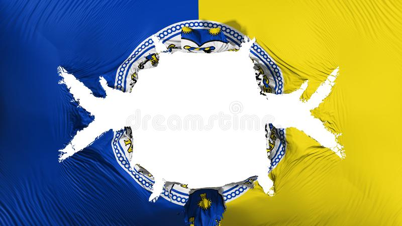 Trenton capital city flag with a big hole. Trenton city, capital of New Jersey state flag with a big hole, white background, 3d rendering royalty free illustration
