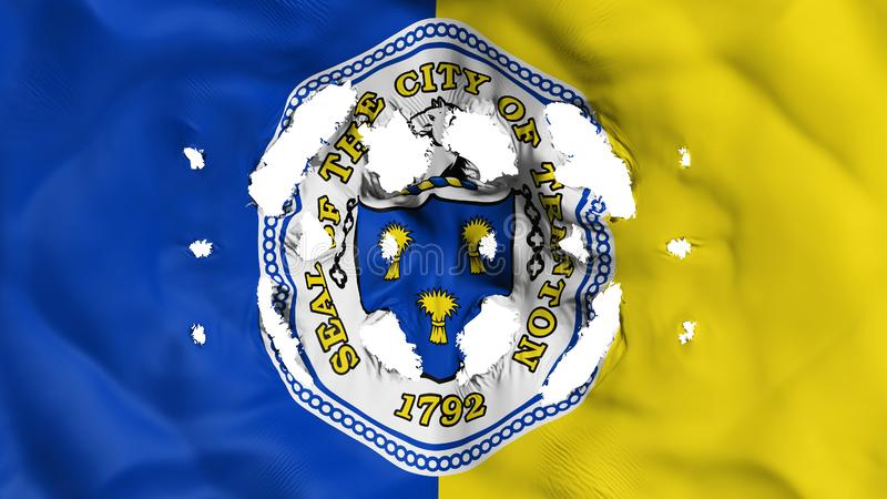 Trenton capital city flag with a small holes. Trenton city, capital of New Jersey state flag with a small holes, white background, 3d rendering royalty free illustration