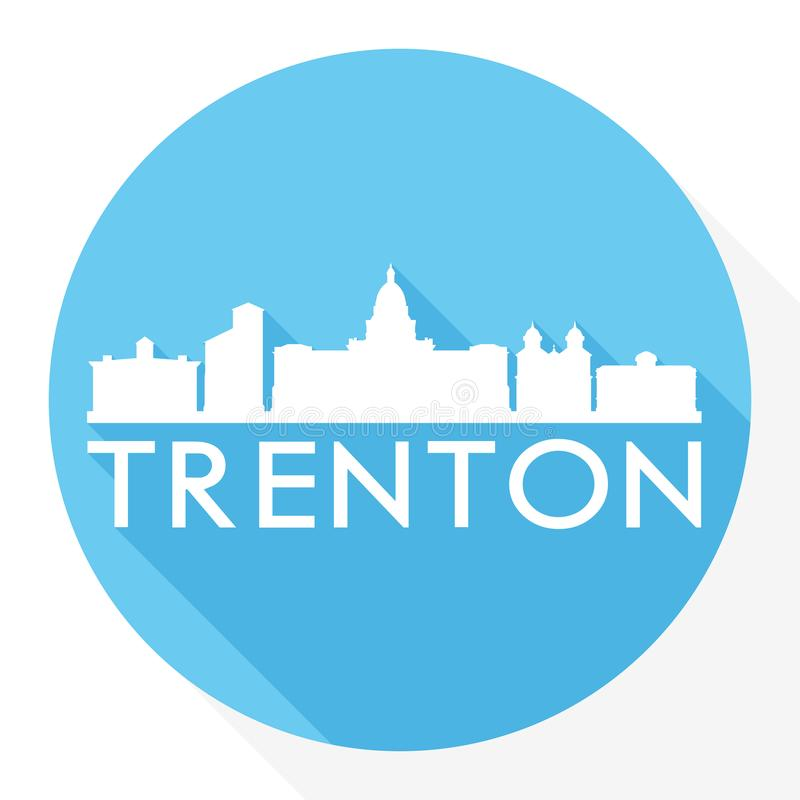 Trenton New Jersey Capital USA Round Icon Vector Art Flat Shadow Design Skyline City Silhouette Template Logo vector illustration
