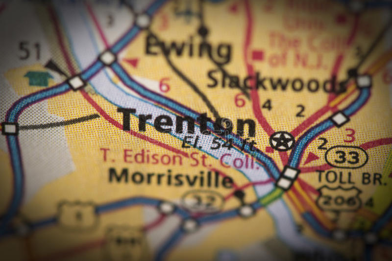 Trenton, New Jersey on map. Closeup of Trenton, New Jersey on a road map of the United States royalty free stock image