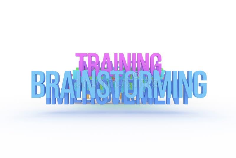 Trenujący & brainstorming, biznesowi konceptualni kolorowi 3D słowa Abecadło, komunikacja, projekt & sieć, royalty ilustracja
