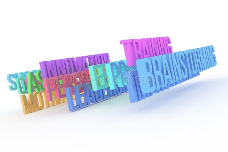 Trenujący & brainstorming, biznesowi konceptualni kolorowi 3D słowa Digital, cgi, ilustracja & abecadło, ilustracji