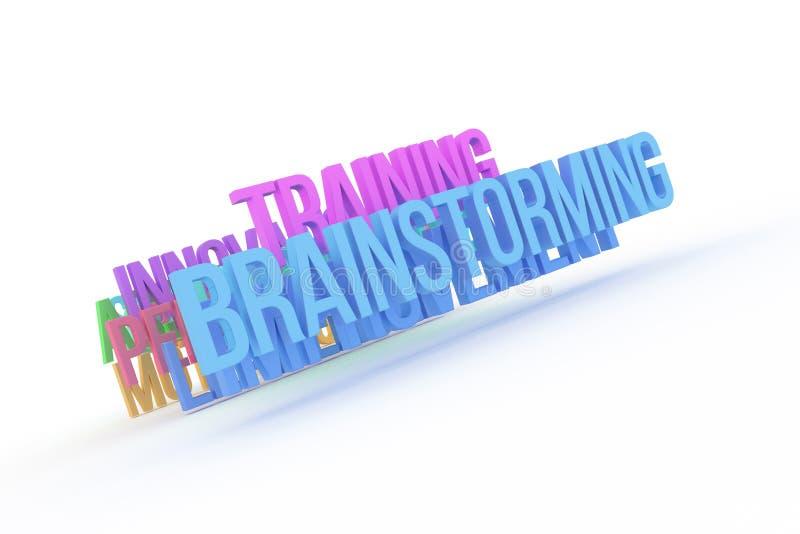 Trenujący & brainstorming, biznesowi konceptualni kolorowi 3D słowa Digital, rendering, pozytyw & grafika, ilustracja wektor