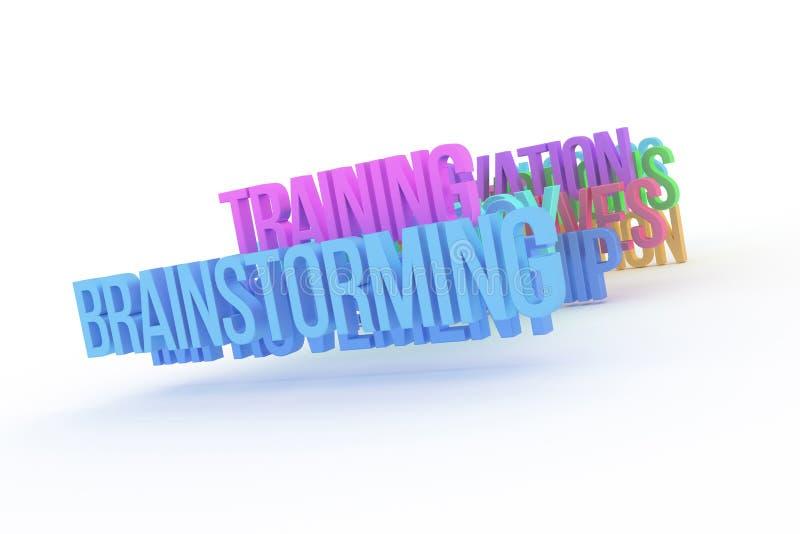 Trenujący & brainstorming, biznesowi konceptualni kolorowi 3D słowa Tło, grafika, tapeta & tło, royalty ilustracja